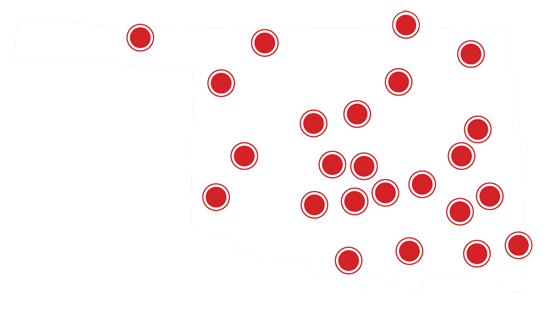 Icon of the state of Oklahoma showing full state coverage